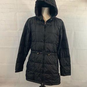 L.L.Bean womens puffy black long jacket size large